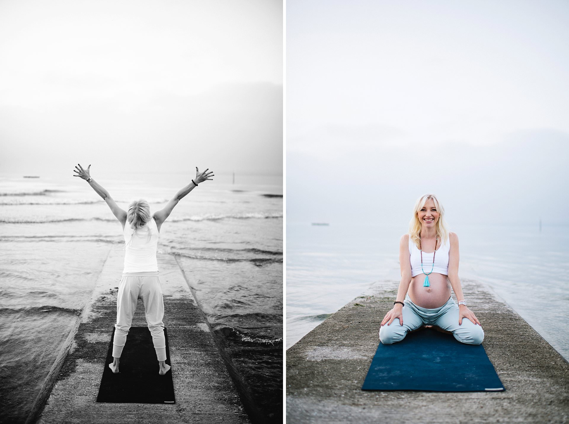 Fotograf Konstanz - Fotograf Portrait Babybauch Yoga Shooting Konstanz Zürich 18 - Yoga Shooting at Lake Constance beach with sunrise  - 30 -